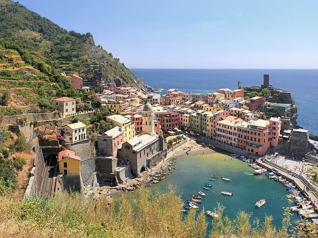 Vernazza from the terraced mountainside vineyards high above the town