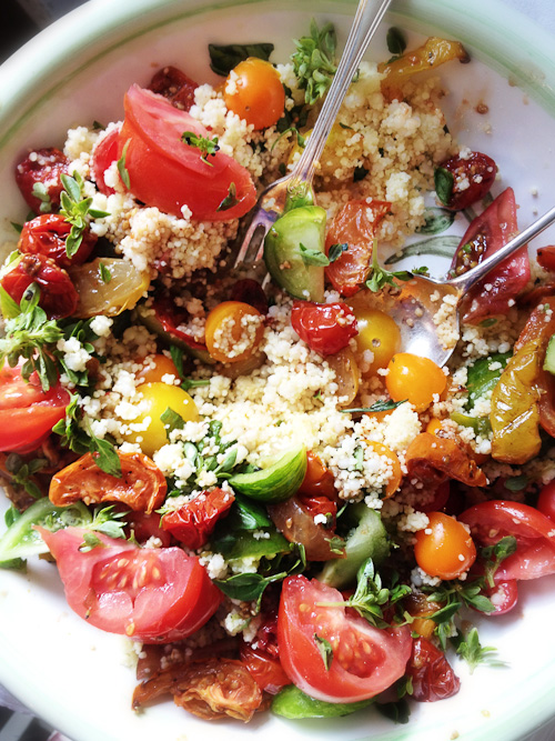 Tomatoes & slow roasted tomatoes with fregola and herbs