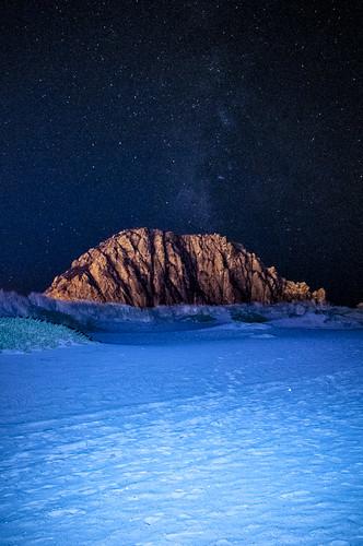 [フリー画像素材] 自然風景, 岩山, 夜空, 星, 雪 ID:201210192000