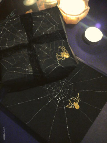 Spooky spiders web gift wrap and favor boxes finished