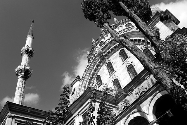 Istanbul mosque in B&W