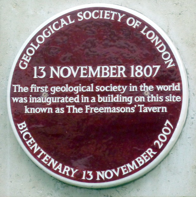 Geological Society of London purple plaque - 13 November 1807. The first geological society in the world was inaugurated in a building on this site known as The Freemasons' Tavern