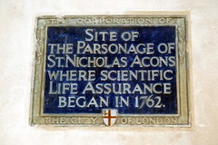 Photo of Parsonage of St Nicholas Acons and scientific life assurance blue plaque