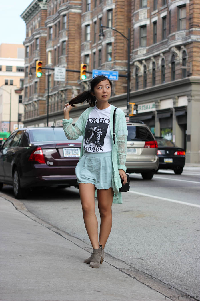 mint green band tshirt outfit