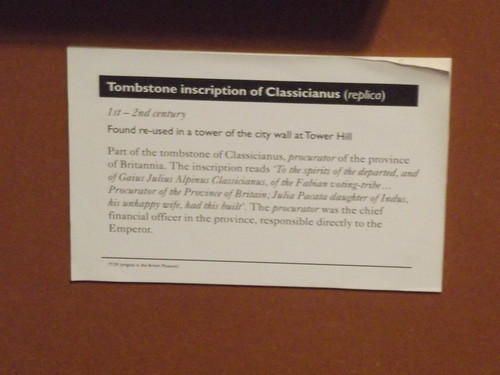 Museum of London - Roman London - Tombstone inscription of Classicianus (replica) - sign