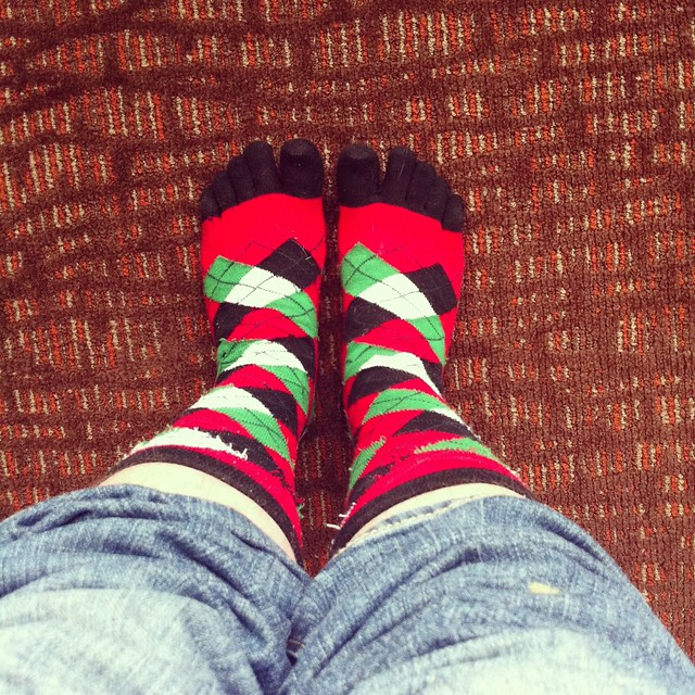 argyle Christmas toe socks