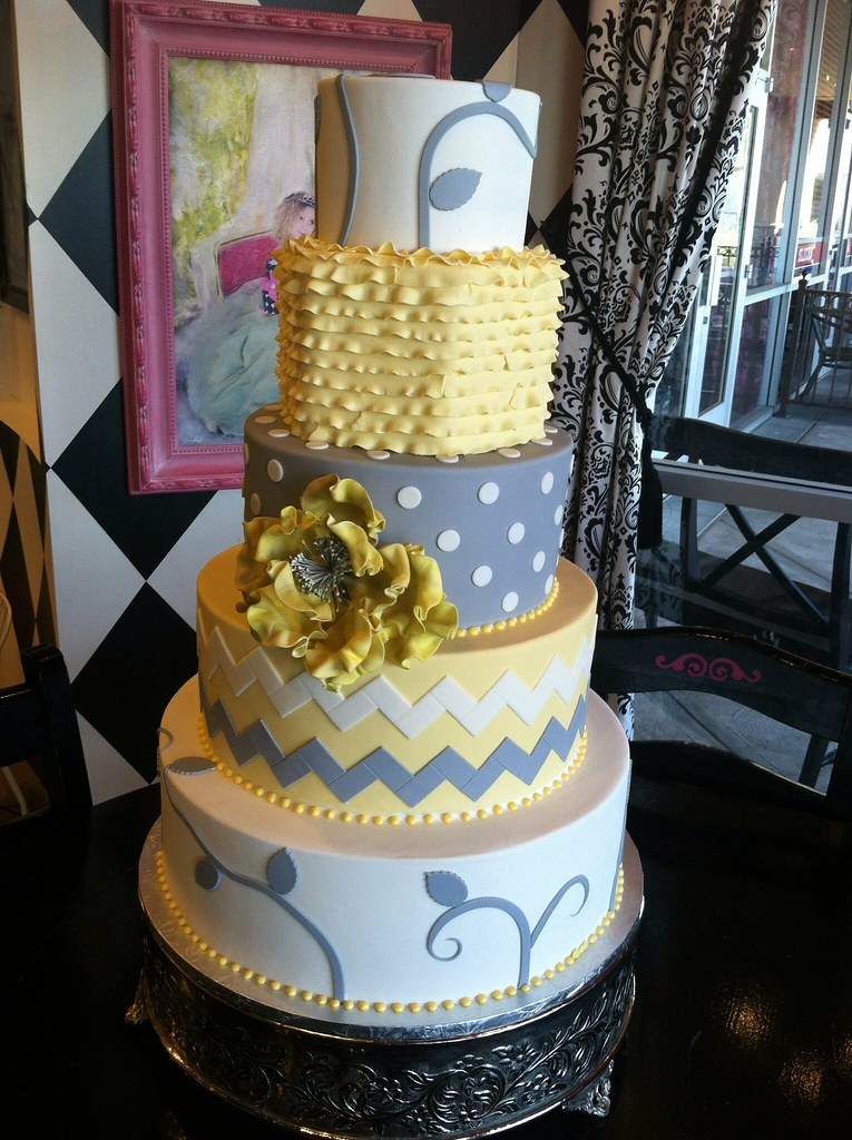 Yellow and grey wedding cake - a photo on Flickriver