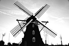 [Free Images] Architecture, Windmill, Landscape - Sweden, Black and White ID:201210311600