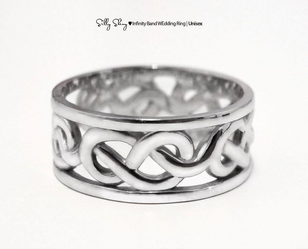 Silly Shiny Infinity Band Unisex Men 14K Ring Wedding