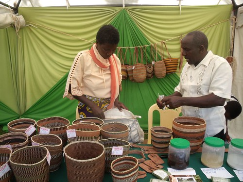 Selling traditional Kamba baskets at KARI event