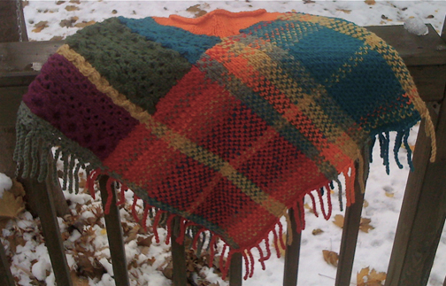 Anni Modesitt Plaid Knit Shawl