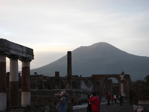 The ruins of Pompei with Mt. Vesuvius in the background