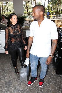 kanye west and kim kardahian lamping in miami