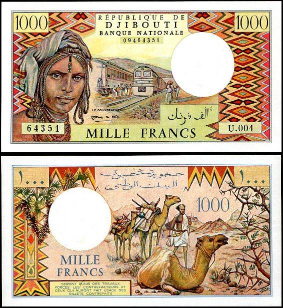 1000 Frankov Džibutsko 1979-91