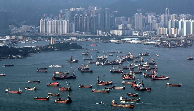 Cargo / Freighter ships in Hong Kong harbour