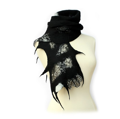 Black and White Nuno Felt Scarf - Handmade One Of A Kind Art Scarf!