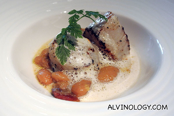 Pan-seared Hokkaido Sea Scallop, braised Cannellini Bean & Lobster Bisque Foam