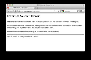 youtube - Internal Server Error