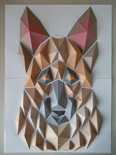 origami mosaic of German Shepherd's head