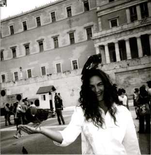 Sam in Athens with The Pigeons..
