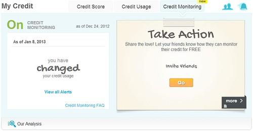 Credit Sesame credit monitoring alert