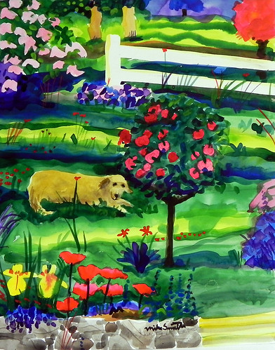 """Maddie and The Tree Rose"" watercolor by Mike Smith at Smith Galleries by Smith Galleries"