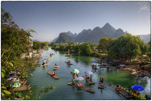 Bamboo Rafts on Yulong River