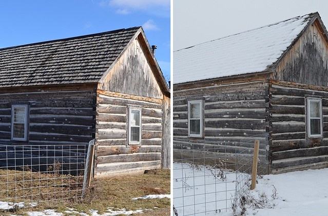Exterior of Cabin with and Without Snow