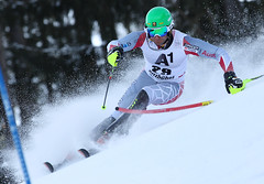 Mike Janyk powers through a run in the Kitzbühel men's slalom.