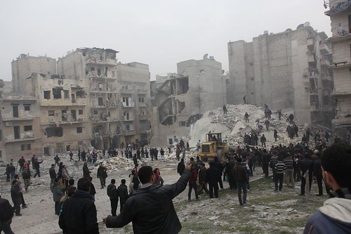 Syrien Aleppo Insari 3.02.2013 Luftangriff  Air Attack  IMG_7110
