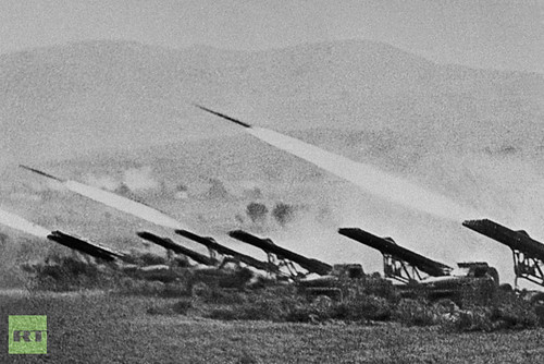 Photograph of the Battle for Stalingrad in the Soviet Union from 1942 showing Katyusha rockets used against the Nazis who were defeated at great human and material cost. The 70th anniversary of the battle has been recognized internationally. by Pan-African News Wire File Photos