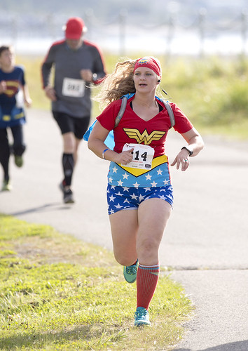 Amy Drake is a Wonder Woman as she runs in Saturday's CASA Superhero 5-kilometer to benefit the Kenaitze Indian Tribe's Court Appointed Special Advocates program.