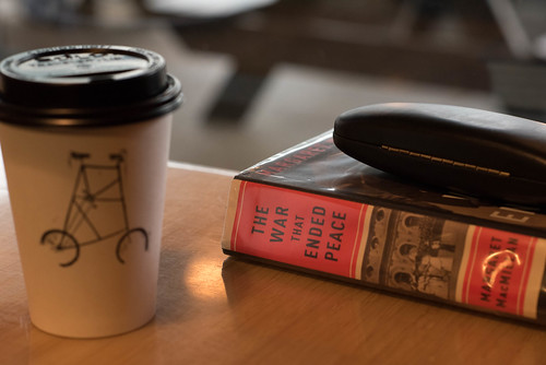 I went to a coffee shop so hip that people there read print books.