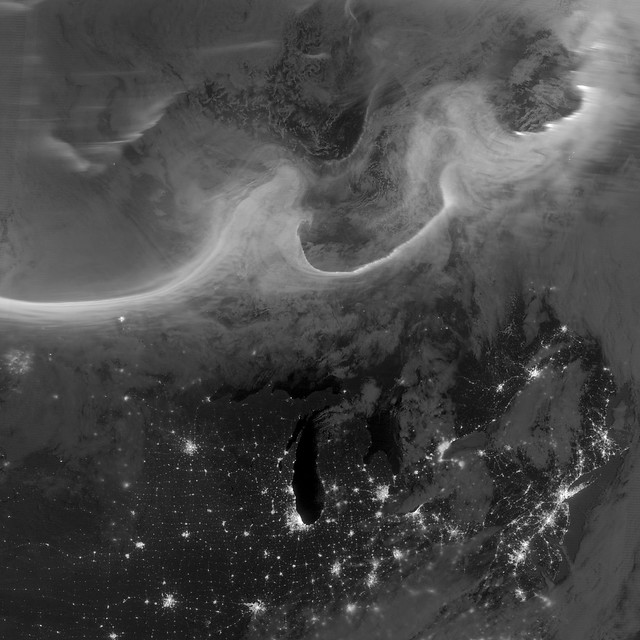 October 5, 2012 Auroras over North America as Seen from Space. Credit: NASA Earth Observatory.
