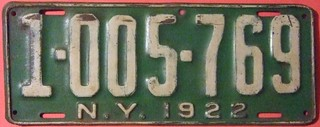 NEW YORK 1922 ---SEVEN DIGIT LICENSE PLATE