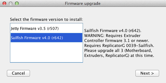 Selecting the ToM firmware to install