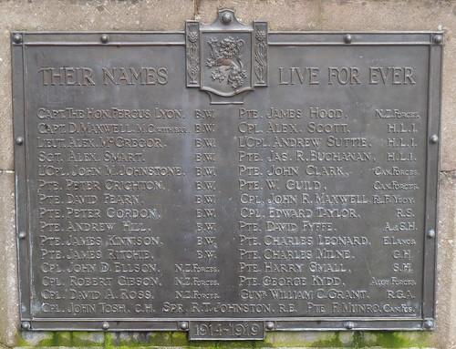 1914-19 Names on Glamis War Memorial