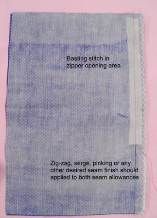 Basted seam and seam allowance zig-zagged