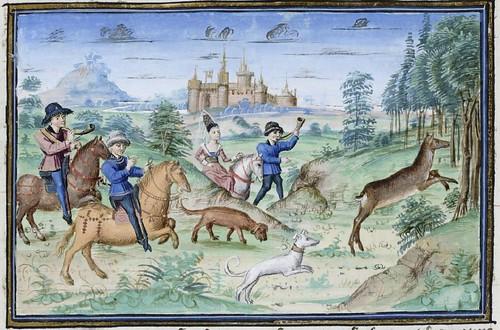 15th century illuminated manuscript miniature: Henri de Ferrières, Les Livres du roy Modus et de la royne Ratio 48