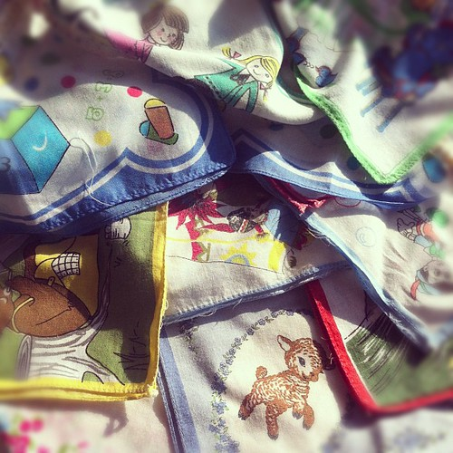 Massive pile of vintage hankies from lil sis when she was a kid, need to turn them into something for her big 3-0 on the weekend...