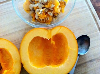 Seeds Scooped Out of Pumpkin