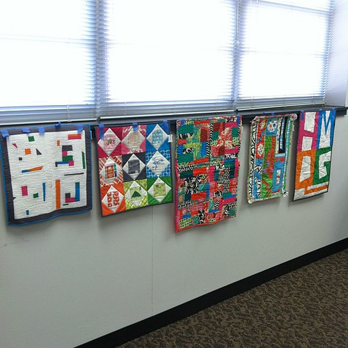 A few of the quilts for the HMQG mini-quilt challenge.