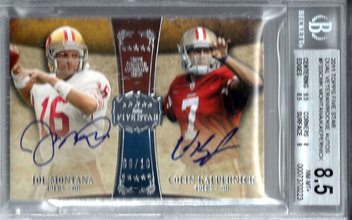 2011 Topps Five Star Dual Veteran and Rookie Autographs #FSSCMK Joe Montana Colin Kaepernick (6 of 10) BGS 8.5