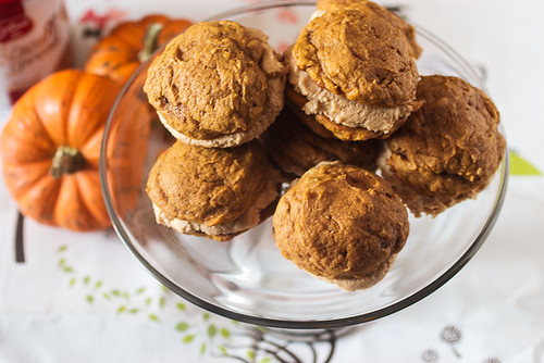 Pumpkin Whoopie Pies with Biscoff Cream #SundaySupper