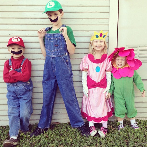 The kids were loving their #costumes this evening! Even though I had to tell Amelia hers was a mermaid to get her to wear it! #halloween #childhood #latergram #supermario