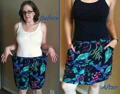 Blue Floral Skirt Before & After