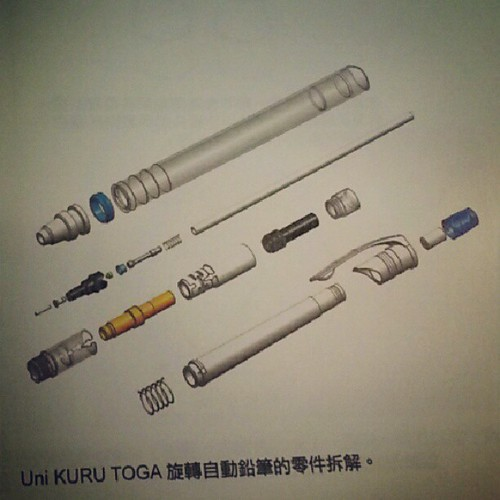 Breakdown of Uni Kuru Toga mechanical pencil.