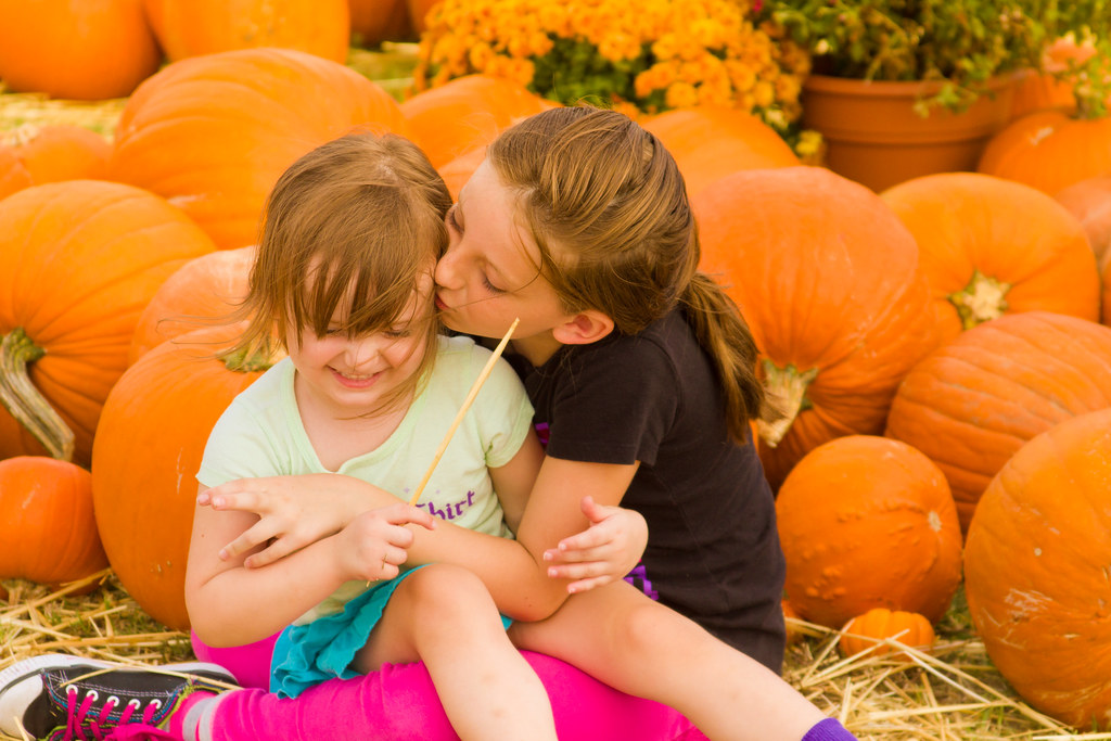 Playing in the pumpkin patch.
