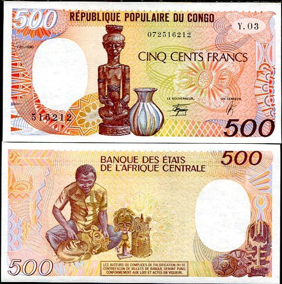 500 Frankov Kongo 1985-91, Pick 8