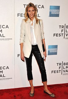 Anja Rubik Black Crop Pants Celebrity Style Women's Fashion